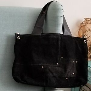 Handbags - Real suede and vegan leather black tote
